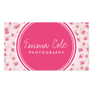 Pink Chic Vintage Floral Print Double-Sided Standard Business Cards (Pack Of 100)