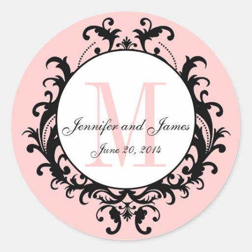 Pink Chic Wedding Monogram Names Date Sticker