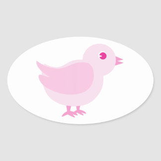Pink Chick Oval Sticker