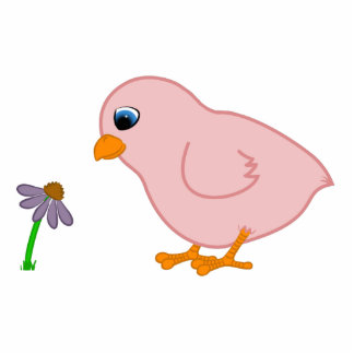 Pink Chick with Purple Coneflower Photo Sculpture Magnet