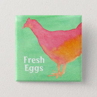 Pink Chicken Farm Fresh Eggs 2 Inch Square Button