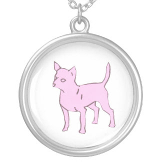 Pink Chihuahua Cancer Awareness Necklace