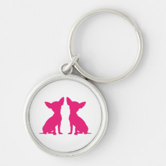 Pink Chihuahua dog cute keychain, gift idea Silver-Colored Round Keychain