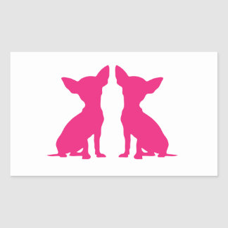 Pink Chihuahua dog cute rectangle stickers, gift Sticker