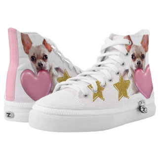 Pink Chihuahua high top tennis shoes