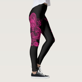 Pink Chinese Emperor Dragon On Black Leggings