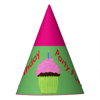 Pink Chocolate Cupcake Balloons Party Hats