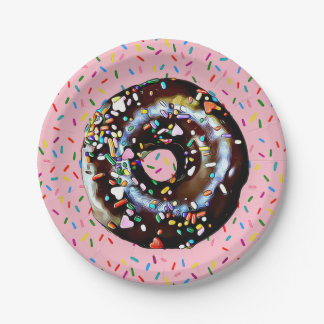 Pink Chocolate Donut with Sprinkles  Paper Plate