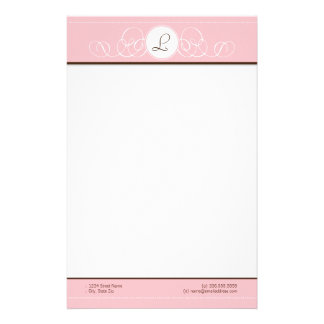 Pink & Chocolate Pink Monogram Stationery