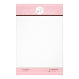 Pink Chocolate Pink Monogram Stationery