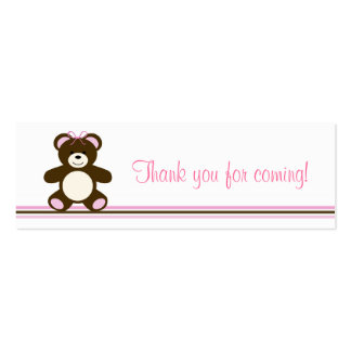 Pink Chocolate Teddy Bear Favor Gift Tags Mini Business Card