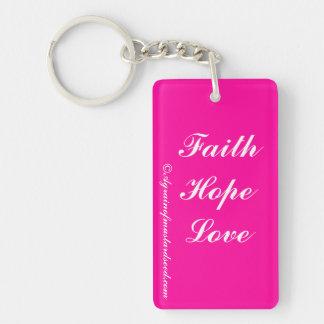 Pink Christian Single-Sided Rectangular Acrylic Keychain