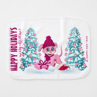 Pink Christmas Adorable Puppy Cartoon Burp Cloth