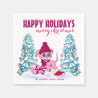 Pink Christmas Adorable Puppy Cartoon Paper Napkins