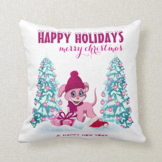 Pink Christmas Adorable Puppy Cartoon Throw Pillow