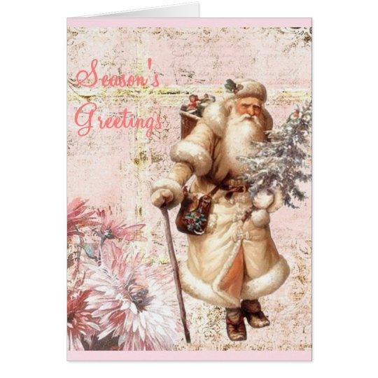 pink Christmas card and Santa
