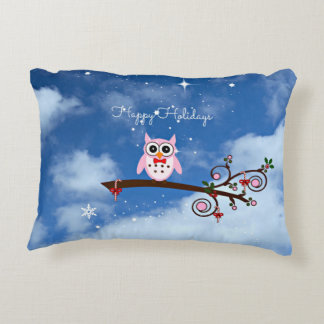 Pink Christmas Owl Accent Pillow