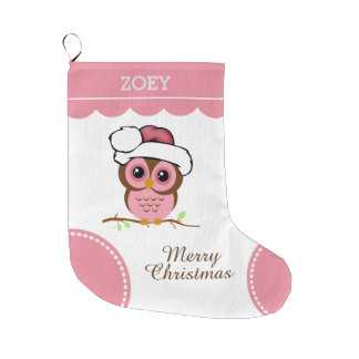 Pink Christmas Owl Large Christmas Stocking