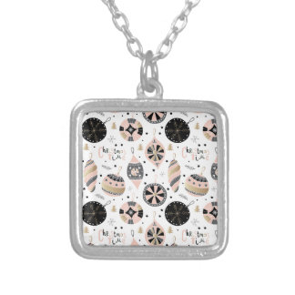 Pink Christmas Time Ornament Pattern Silver Plated Necklace