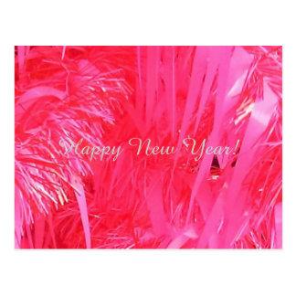 Pink Christmas Tree Happy New Year, postcard