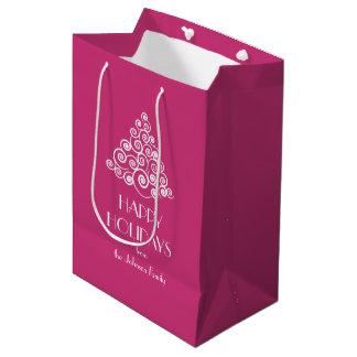 Pink Christmas White Christmas Tree Message Medium Gift Bag