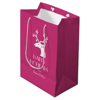 Pink Christmas White Reindeer Personalized Message Medium Gift Bag