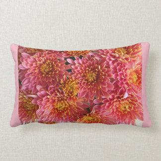 pink chrysanthemum cluster in garden lumbar pillow