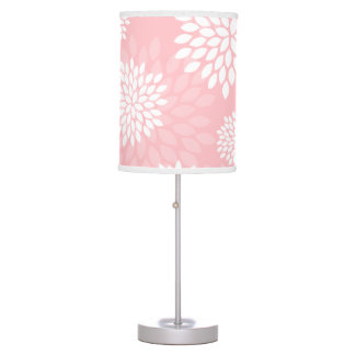 Pink Chrysanthemums Floral Pattern Table Lamp