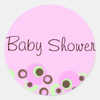 Pink Circle Design Baby Shower Sticker/seal Classic Round Sticker