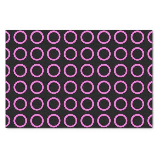 Pink Circles Black Tissue Paper