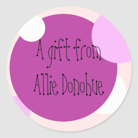 Pink Circles Gift Sticker (Customizable)