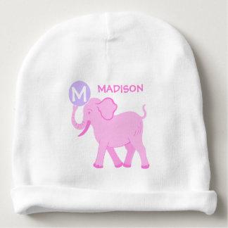Pink Circus   Baby Girl Cute Elephant Monogram Baby Beanie