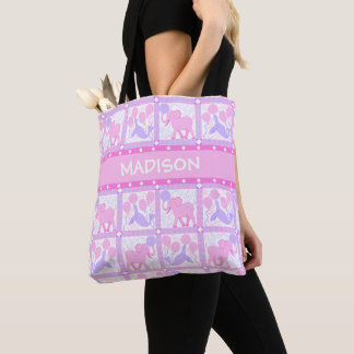 Pink Circus | Baby Girl Elephant For New Mom Tote Bag