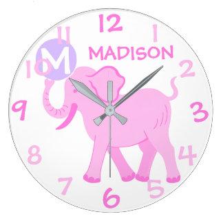 Pink Circus | Baby Girl Nursery Cartoon Elephant Large Clock
