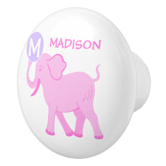 Pink Circus | Baby Girl Nursery Elephant Ball Ceramic Knob
