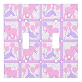 Pink Circus | Baby Girl Nursery Pattern Elephant Light Switch Cover