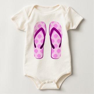 Pink Clam Flip Flops Baby Bodysuit