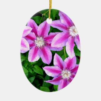 Pink Clematis  and wild Oregano Ceramic Ornament