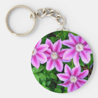 Pink Clematis  and wild Oregano Keychain