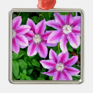 Pink Clematis  and wild Oregano Silver-Colored Square Ornament