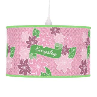 Pink Clematis Monogram Green Banner Japan Kimono Pendant Lamp