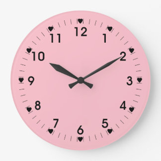Pink Clock with Black Hearts & Numbers