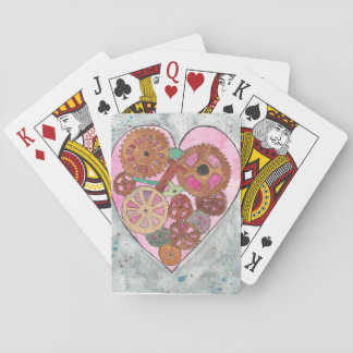 Pink Clockwork Heart Playing Cards faces