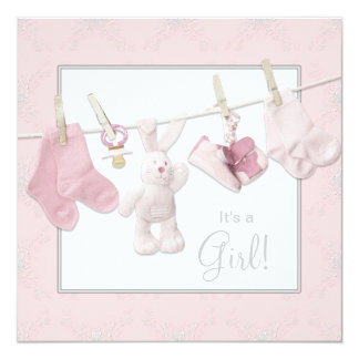 """Pink Clothesline Baby Girl Shower 5.25"""" Square Invitation Card"""
