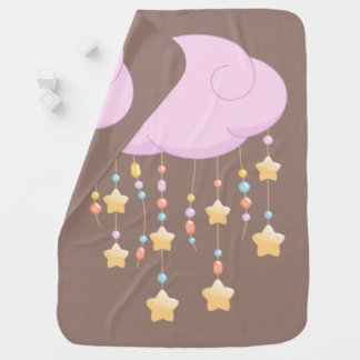 Pink Cloud Beads Stars Baby Mobile Brown Baby Blanket
