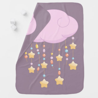 Pink Cloud Beads Stars Baby Mobile Purple Baby Blanket