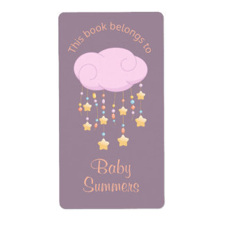 Pink Cloud Beads Stars Mobile Baby Bookplate