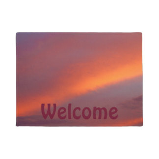 Pink cloud design door mat