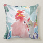 Pink Cockatoo Watercolor Throw Pillow