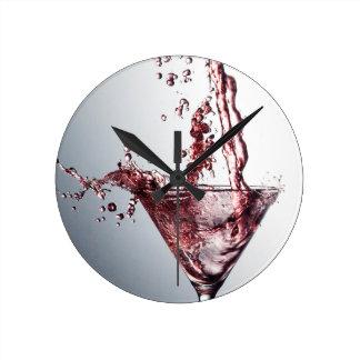 Pink Cocktail 3 Round Clock